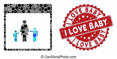 Mosaic mother calendar page and distressed stamp seal with I Love Baby phrase. Mosaic vector is created with mother calendar page icon and with scattered round items. I Love Baby seal uses red color,