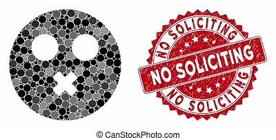 Mosaic Mute Smiley with Grunge No Soliciting Stamp