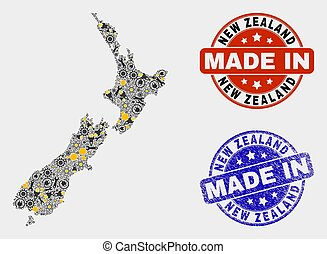 Mosaic New Zealand Map of Production Elements and Made In Grunge Stamp