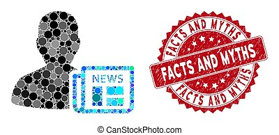 Mosaic Newsmaker Newspaper with Scratched Facts and Myths ...