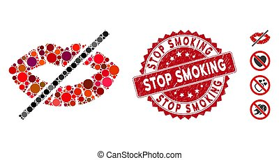 Mosaic No Kiss Icon with Grunge Stop Smoking Stamp