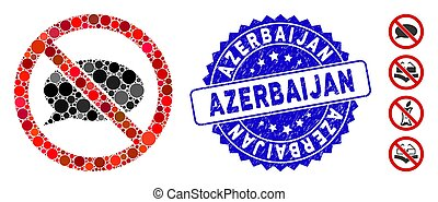 Mosaic No Message Icon with Scratched Azerbaijan Seal