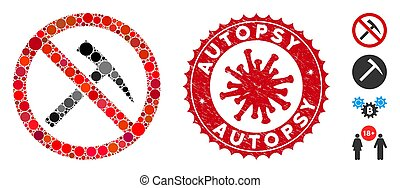 Mosaic No Mining Tools Icon with Coronavirus Distress Autopsy Stamp