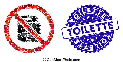 Mosaic No Toilet Paper Icon with Grunge Toilette Seal