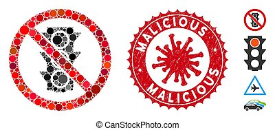 Mosaic No Traffic Lights Icon with Coronavirus Textured Malicious Stamp