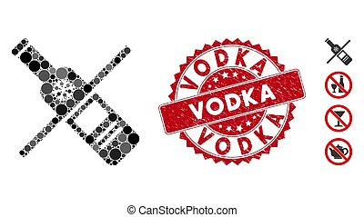 Mosaic No Vodka Drinking Icon with Scratched Vodka Seal