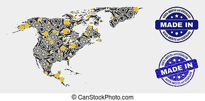 Mosaic North America and Greenland Map of Industrial Items and Made In Grunge Stamp