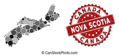 Mosaic Nova Scotia Province Map and Distress Circle Seal