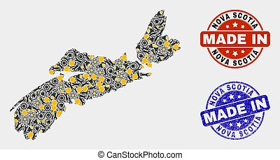 Mosaic Nova Scotia Province Map of Industrial Items and Made In Grunge Stamp