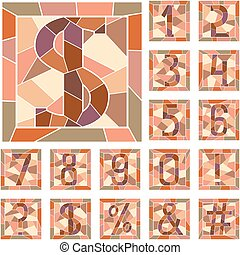 Mosaic numeric figures. - Set of mosaic numeric figures in...