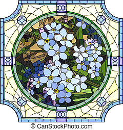 Vector mosaic with large cells of brightly blue forget-me-not with buds in round stained-glass window frame.