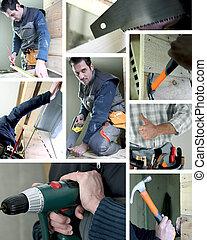 Mosaic of carpenter working