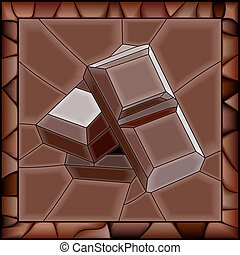 Mosaic of chocolate bars.