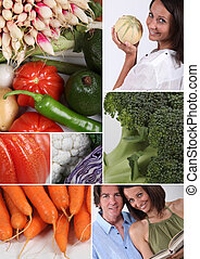 Mosaic of couple with variety of vegetables
