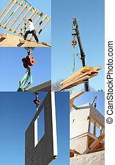 Mosaic of crane lifting timber