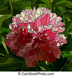 Mosaic of flower peony. - Vector mosaic with large cells of...