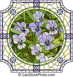 Mosaic of flower purple pansies. - Vector mosaic with large...
