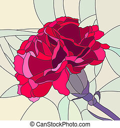 Mosaic of flower red carnation. - Vector mosaic with large...