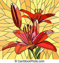 Mosaic of flower red lilies. - Vector mosaic with large...