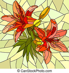 Mosaic of flower red lilies.