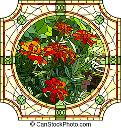 Mosaic of flower red marigold.
