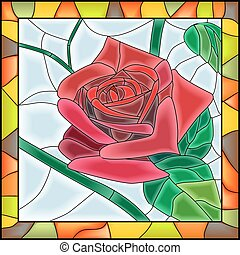 Mosaic of flower red rose.