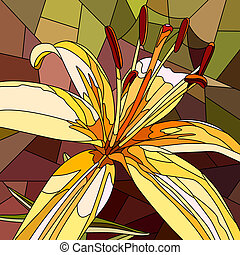 Mosaic of flower yellow lily. - Vector mosaic with large...