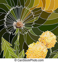 Mosaic of flowers dandelion. - Vector abstract mosaic with...
