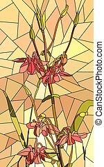 Mosaic of flowers red columbine.