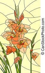 Mosaic of flowers red gladiolus.