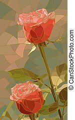 Mosaic of flowers red roses. - Vector vertical mosaic with...