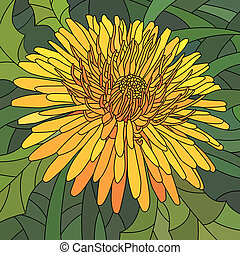 Mosaic of orange dandelion. - Vector mosaic with large cells...