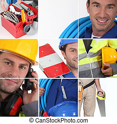 Mosaic of plumber with equipment