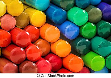 Mosaic of rainbow pencils