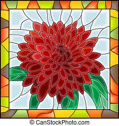 Mosaic of red chrysanthemum.