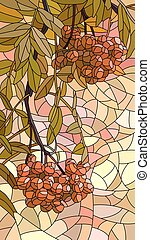 Vector vertical mosaic with large cells of rowan branch with berries.