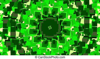 Mosaic of rotating squares in green and white colors
