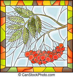 Mosaic of rowan with berries. - Vector illustration of rowan...