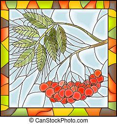Mosaic of rowan with berries. - Vector illustration of rowan...