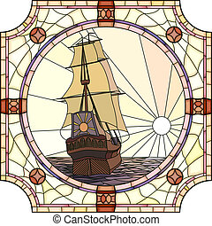 Vector mosaic with large cells of sailing ships of the 17th century at sunset in round stained-glass window frame.