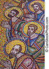 mosaic of saint apostles - detail of saint apostles mosaic...