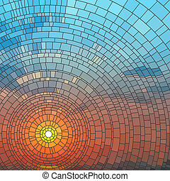 Mosaic of sunset in sea. - Vector illustration of sunset in ...