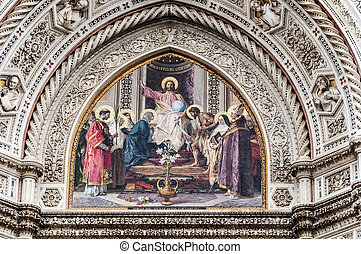 Mosaic of the cathedral in Florence - The mosaic of the...