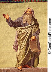 Mosaic of the Prophet Daniel in the facade of Basilica of Saint Paul outside the walls. Rome, Italy