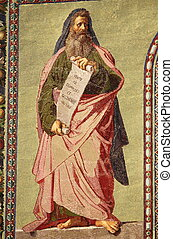 Mosaic of the Prophet Isaiah in the facade of Basilica of Saint Paul outside the walls. Rome, Italy