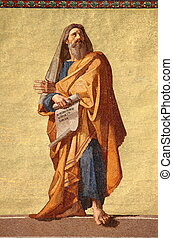 Mosaic of the Prophet Jeremiah in the facade of Basilica of Saint Paul outside the walls. Rome, Italy