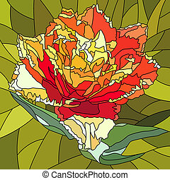 Mosaic of tulip flower. - Vector mosaic with large cells of...