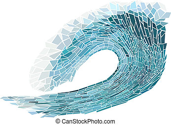 Mosaic of wave with foam. - Abstract vector illustration of...