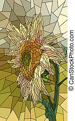 Mosaic of yellow sunflower. - Vector vertical mosaic with...