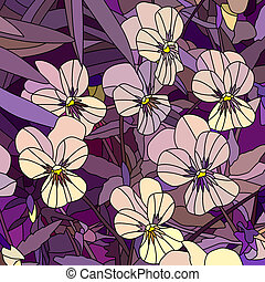 Mosaic of yellow violet (Pansy). - Vector mosaic with large ...